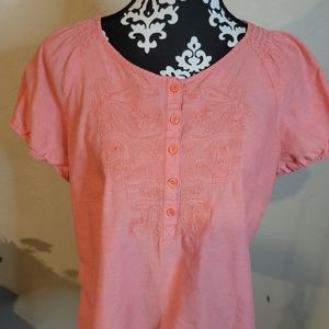 5 for $25💎Croft & Barrow Coral Embroidered Top XL